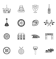 Car racing icons set black monochrome style vector image vector image