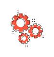 cartoon gear icon in comic style cog wheel vector image vector image