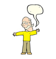 cartoon old man spreading arms wide with speech vector image vector image