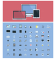 Computer hardware icon set vector image