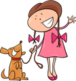 cute girl with dog cartoon vector image vector image