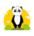 cute kawaii panda with nature background in vector image vector image