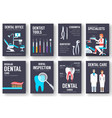 dental office interior information cards set vector image