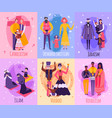 different religious people family card set vector image vector image