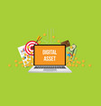 digital asset concept with laptop text on screen vector image vector image
