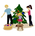 Family decorate Christmas tree isolated on white vector image vector image