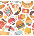 fast food pattern restaurant menu pictures pizza vector image