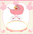 funny teddy bear in stroller baby announcement vector image