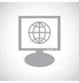 Globe grey monitor icon vector image vector image