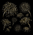 gold fireworks design on black background vector image