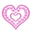 heart of pink roses on white background vector image vector image