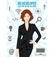 IOS lady developer search suit design concept vector image