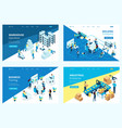isometric set landing page vector image vector image