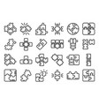 jigsaw icons set outline style vector image vector image