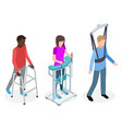 legs rehabilitation people - isometric vector image vector image