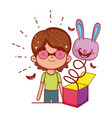 little boy with fools day surprise box and rabbit vector image