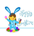 little girl in a bunny costume with eggs vector image vector image