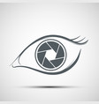 logo human eye in the form of lens aperture vector image