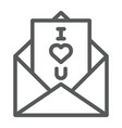 love letter line icon love and valentine vector image
