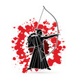 man bowing kyudo archer sport man vector image vector image