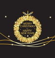 merry christmas and happy new year glowing gold vector image vector image