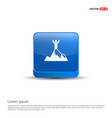 mountain hiking icon - 3d blue button vector image