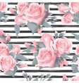 navy striped print with bouquets of rose flowers vector image