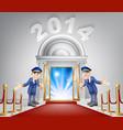 new year opportunity door 2014 vector image vector image