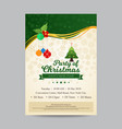 party invitation for christmas in green and beige vector image