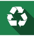 Recycle symbol icon with long shadow vector image vector image