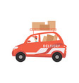 red cargo delivery car with cardboard boxes fast vector image