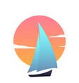 sailboat at sunset ship modern icon vector image vector image