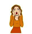 scream woman pop art vector image vector image