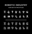 set icons robotic industry vector image vector image