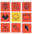 set of 9 internet icons includes local connection vector image vector image