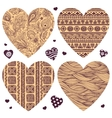 set of hearts with ornaments vector image vector image