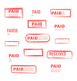 set of stamps is paid vector image