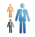 set stylized man in a tie office workers vector image