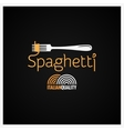 Spaghetti Pasta On Fork Label Background vector image vector image