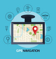 tablet with gps application vector image