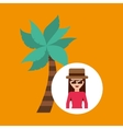 toursit female hat sunglasses palm tree vector image vector image