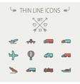 Transportation thin line icon set vector image vector image