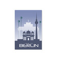 Trip to berlin travel poster template touristic vector image