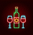 wine bottle glass neon sign vector image vector image