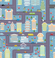 Winter city seamless pattern Christmas in city Map vector image