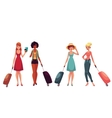 Young fashionable women girls traveling with vector image vector image