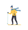 young man skiing winter time activities vector image