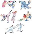 Struggle and Fighting Sports Boxing Judo Taekwondo vector image