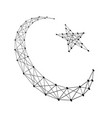 crescent with a star symbol of islam from polygon vector image