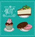 bakery set in handmade cartoon style vector image